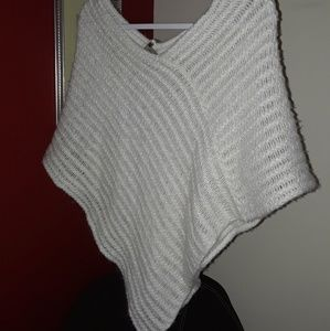 Sweaters - Creme w/shimmer poncho